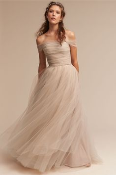 BHLDN - A romantic off-the-shoulder dress in champagne tulle.