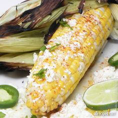 "Mexican Corn on the Cob | ""As served by street vendors in Mexico. Grilled ears of fresh corn are spread with mayonnaise and sprinkled with grated cotija cheese. You'll want to eat all your corn this way from now on."""
