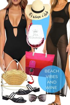 How Wine Lovers Enjoy a Day At The Beach with These Wine Essentials #beachwear #bathingsuits #beachvibes #beachoutfits #winelovers #beachaccessories #Summerdress #accessories #fashionoutfits #womensoutfits #fashionforwomen #womensfashion Beach Outfit For Women, Suits For Women, Clothes For Women, Beach Accessories, Over 50 Womens Fashion, Beachwear For Women, Black Swimsuit, Looking For Women, Daily Fashion