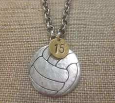 Volleyball Necklace Pewter by StringABeadNOLA on Etsy, $30.00