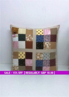 Patchwork cushion, Cotton Coussin, patchwork squares, unique cushions, Home decor, Sofa cushions, Handmade gifts, Home made pillow,