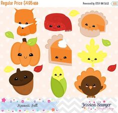 80% OFF - INSTANT DOWNLOAD, kawaii fall clipart and vectors for personal and commercial use