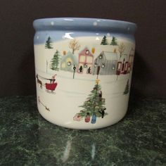 1999 Holiday Edition Bath & Body Works Winter Scene Ceramic Planter | eBay