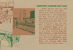 A circa pamphlet featuring the new layout of Robertson's Department Store in South Bend, Indiana Men Store, South Bend, Back Home, Indiana, Handsome, Flooring, Department Store, Childhood, Winter