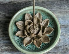 ◊______ Little Lotus in Winter _____ ◊ * Wall Decor / Paper Weights / Incense Holder (for sticks & cones) * Materials :: Ceramic * Colour :: Sand * Ceramic Decor, Ceramic Art, Ceramic Plates, Diy Clay, Clay Crafts, Lotus, Ceramic Incense Holder, Pottery Designs, Ceramic Flowers