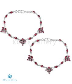 The Kamna Silver Gemstone Anklets (Red) -Silver Anklet Designs - KO Jewellery Silver Anklets Designs, Anklet Designs, Necklace Designs, Gold Jewelry, Jewelry Bracelets, Gold Necklace, Pearl Earrings, Jewellery, Drop Earrings