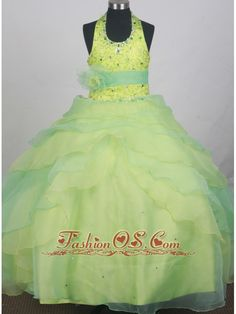 Sequins and Beading Decorate Apple Green and Spring Green Halter Flower Girl Pageant Dress With Apple Green Belt- $168.69  www.fashionos.com  | 2016 brand new online store from designer girl pageant dresses | 2014 fall beautiful lil girl pageant dresses | most popular little girls formal dresses near australia | 2015 affordable child pageant dresses |