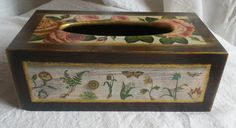 wooden tissue box cover, roses and plants by PtahArtGallery on Etsy