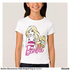 Barbie Illustration: Pink Striped Top