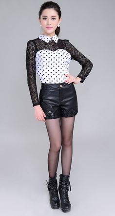 Automne et hiver mode Casual taille haute Short en cuir Sexy Short en dentelle noire femmes court Hot vente femmes vêtements dans Shorts de Femmes de Vêtements et Accessoires sur AliExpress.com | Alibaba Group