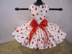 Dog Dress XS White with Red Hearts By by NinasCoutureCloset