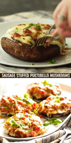 These Sausage Stuffed Portobello Mushrooms are a delicious low carb dinner! A savory sausage tomato sauce topped with gooey, melty cheese on top of an umami portobello mushroom! Make this portobello mushroom recipe for dinner tonight! Appetizer Recipes, Dinner Recipes, Appetizers, Portobello Mushroom Recipes, Comida Keto, Healthy Low Carb Recipes, Healthy Mushroom Recipes, Low Carb Diet, Mexican Food Recipes