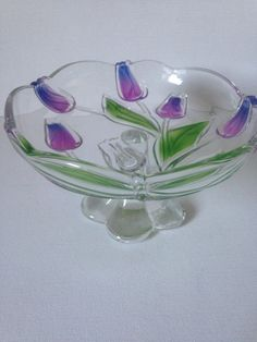 Waltherglas Tivoli stemmed pedestal petit fours/bon bon dish.  This really is a stunning little dish.  Decorated with a central bouquet of tulips in a deep shade of purple that graduates into a beautiful bright blue with gorgeous green leaves.  A beautifully decorative piece of glassware that will look stunning in the home; a perfect gift item for someone special. Ideal for candies, nuts or just as a stand alone decorative piece.  This really is a very pretty piece.  Lead crystal; unboxe...