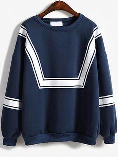 Blue White Round Neck Loose Sweatshirt 16.82