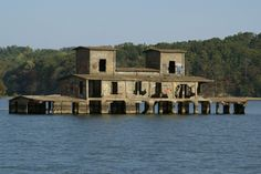 """""""Abandoned Danville Grain Elevator"""" -- [*Kentucky Lake - Tennessee*. It was built in 1918 & sat on the bank of the Tennessee River. When the Kentucky Dam flooded the area in 1941 - it created the Kentucky Lake & this building was all that was left. The Tennessee Valley Authority left the building where it is to be used as a navigational marker.]~[Photography by Jackie - October 17 2011]'h4d-73.2013'"""