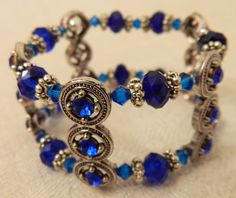 https://www.facebook.com/LindaQueenJewels Handmade, double strand, elastic bracelet with crystal and antique silver plated beads. $17 https://www.facebook.com/LindaQueenJewels