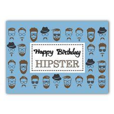 Happy Birthday Hipster Birthday Card. by JacobyDesign on Etsy