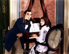 Colorized photo of Buster and Natalie in Our Hospitality 1923