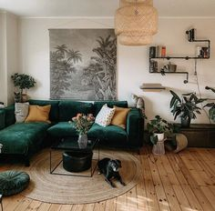 There's nothing more comforting then coming home to my living room. It welcomes me like a mom welcoming her child home. Living Room Goals, Living Room Green, Boho Living Room, Home And Living, Living Place, Bohemian Living, Living Rooms, Living Room Inspiration, Home Decor Inspiration