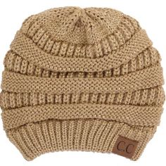C.C. Beanie Cable Knit Beanie in Metallic Gold HAT-20A-METGOLD