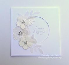 For today's Inspiration Challenge.  My wedding card was inspired by this gorgeous white  dress with a floral spray and rhinestones on the waist. http://greenweddingshoes.com/wp-content/uploads/2011/01/winter-wedding-02.jpg  TFL and congrats IC on number 500 !!!