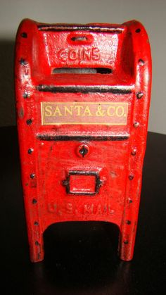 Vintage Cast Iron Santa's mailbox