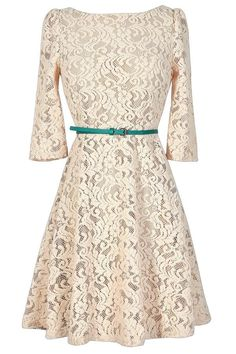 #Lily Boutique - #Lily Boutique Family Gathering Beige Lace Belted Designer Dress - AdoreWe.com