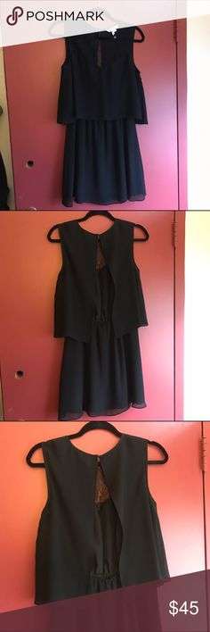 BCBG Backless Dress Backless black dress from BCBG Generation. Lace detailing in the front and a flowing open back. Perfect for any formal event! BCBG Dresses Mini