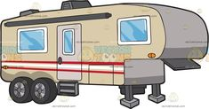 A Fifth Wheel Trailer : A fifth wheel trailer with beige body paint red and white stripes air condition steel stands and two wheels in each side Travel Clipart, Fifth Wheel Trailers, Vector Illustrations, Red And White Stripes, Body Painting, Recreational Vehicles, Rv, Camper, Wheels