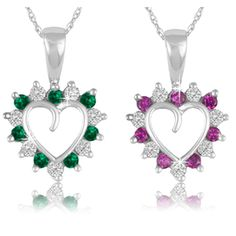 $9.99 - 1/2 Carat Emerald or Ruby Heart Pendant in Sterling Silver