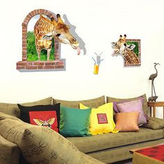 Murah 2016 baru kedatangan 3D efek Window View lucu jerapah stiker, Wall decal, Vinyl Mural dekorasi rumah asd, Kualitas Beli Sticker Dinding langsung dari China Pemasok:         Description:         Hot! desain fashion!  Kualitas tinggi! 100% baru!         Dinding yang indah art wall decal