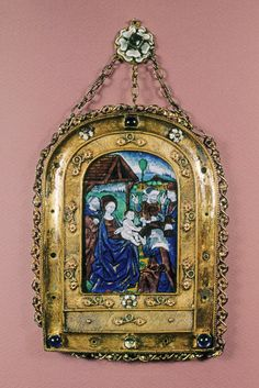 Devotional Plaquette w/ the Adoration of the Magi -- 15th Century -- French -- Painted enamel on copper w/ gilt frame -- The Walters Art Museum