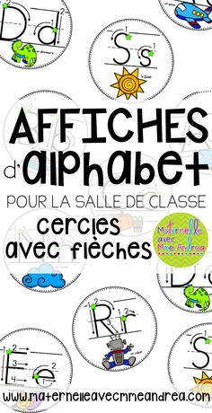 FRENCH Circle alphabet posters - with arrows to remind students of correct letter formation and an image for each letter | Affiches d'alphabet en français - cercles avec flèches