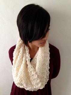 KNIT COWL INFINITY WInter White Hand Knitted by TheBurgundyBow $35.50  READY TO SHIP! Click photo to buy now!
