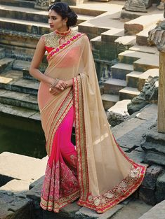 Shop Beige and Pink lycra Wedding saree online at kollybollyethnics from India with free worldwide shipping.