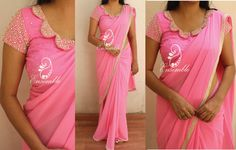 EN 379Candy pink georgette saree finished with pearl borderBlouse- as in the picture(stitched)Price- rs 6400NOTE:Actual colors might vary from the images you see on your screen due to your screen settings  brightness levels etc. Please refer to the color description.To place order  either mail us at ask.ensemble@gmail.com or whatsapp at 9840485135*COD available all over india  13 November 2016