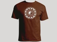 Mandala ying yang yoga terms namaste prana brown t-shirt