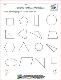 Identify Triangles and Circles, first grade geometry sheet