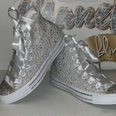 Bling Converse, Converse All Star, White High Top Converse, High Top Sneakers, Ribbon Shoes, Shopping Chanel, Pink Bling, Black Rhinestone, Chuck Taylors High Top