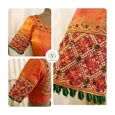 Jade hangings for the sleeve trim.Beauty and finesse go hand in hand. Stunning orange color designer blouse with floral design hand embroidery gold thread zardosi work. Best Blouse Designs, Bridal Blouse Designs, Pattu Saree Blouse Designs, Stylish Blouse Design, Diana, Sleeve Designs, Wedding Blouses, Work Blouse, Sarees