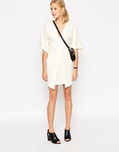 Image 4 ofASOS Mini Asymmetric Pocket Dress with Kimono Sleeves