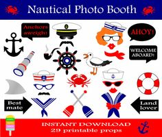 Instant download - DIY printable sailor photo booth props