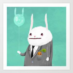 Bunny in a Grey Flannel Suit Art Print by Dale Keys - $18.00