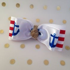 Anchors Away!! Stacked Tuxedo Hair Bows Nautical clips Set of 2 Sailor bows First mate Cuties Navy Bows (7.00 CAD) by LaVieDeLily
