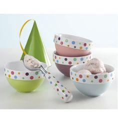 Colored bowls with polka dot rims. Love!