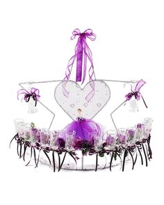 """34"""" star toasting set is decorated with your choice of colors. Heart shaped center decorated with shimmery fabric and heart design. """"Mis 15 Anos"""" and a pretty quinceanera figurine design are etched on each glass. Star is decorated with your choice of trim color. #quinceaneradecorations #joyfuleventsstore #quinceaneras #toastingset #glasses"""
