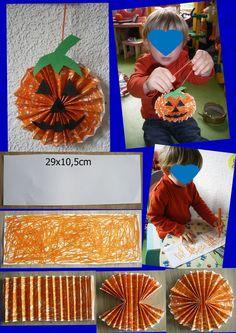Pour commencer les activités d' Halloween voici la petite citrouille de Gaspard 27mois réalisé avec l'aide nounou. Explication : Coupez en 2 une feuille blanche format A4 ou dimension 29cm x 10,5cm, coloriez ...