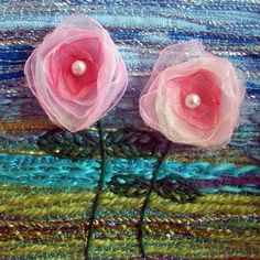 Pink fabric flowers card  organza flowers by StitchMikki on Etsy, $6.00