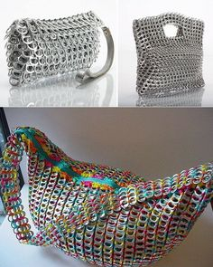 Stylish Bag Made Of Pop Tabs DIY - by All Day Chic  --  http://alldaychic.com/stylish-bags-made-of-pop-tabs-diy/