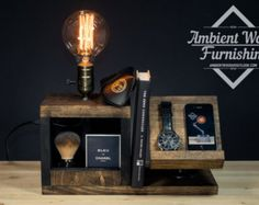 Wood Utility Storage Lamp With Pipe Stand With di AmbientWood